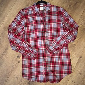 J Crew red and white flannel boy fit size  XS